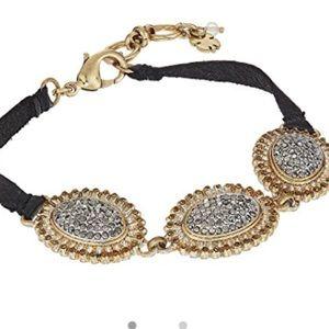 NWT Lucky Brand Pave Link Leather Bracelet